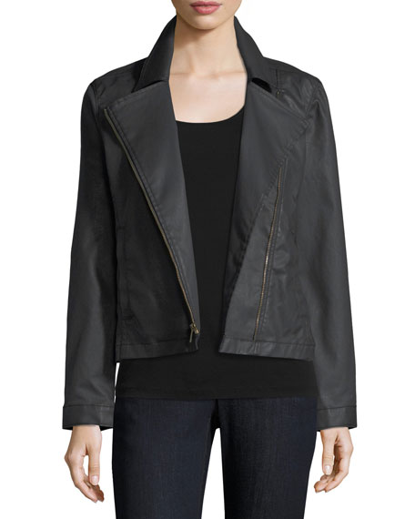 Eileen Fisher Waxed Stretch Cotton Denim Bomber Jacket