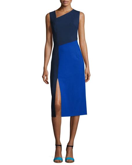 Diane von Furstenberg Sleeveless Asymmetric-Neck Midi Dress