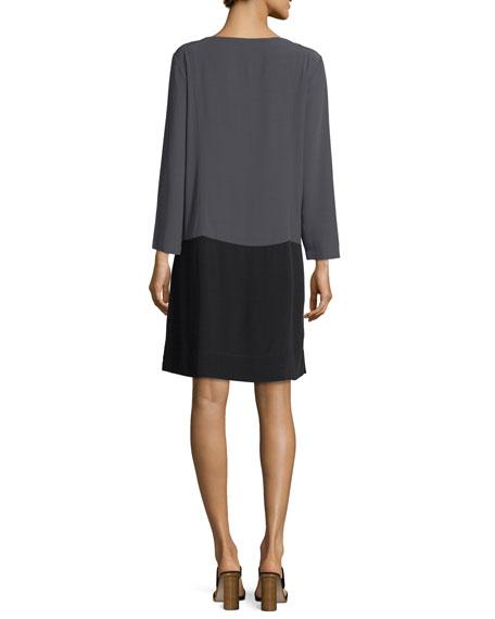 Long-Sleeve Colorblocked Crinkle Crepe Dress