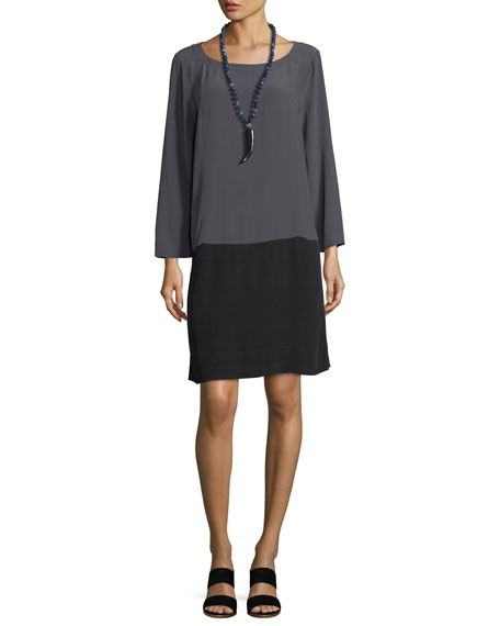 Eileen Fisher Long-Sleeve Colorblocked Crinkle Crepe Dress