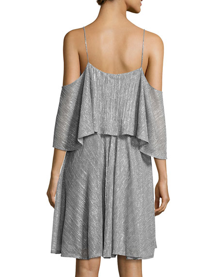 Cold-Shoulder Textured Metallic Flounce Dress, Silver