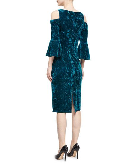 Velvet Cold-Shoulder Sheath Dress, Peacock
