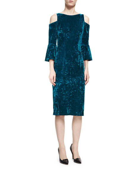 Jovani Velvet Cold-Shoulder Sheath Dress, Peacock