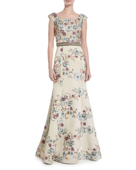 Jovani Floral Embellished Boat-Neck A-line Gown