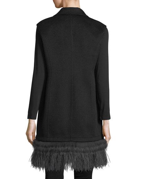 Luxury Double-Face Cashmere Vest w/ Fox Fur & Ostrich Feather Trim