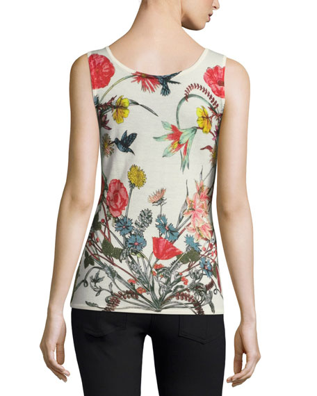 Superfine Wildflower-Print Cashmere Tank