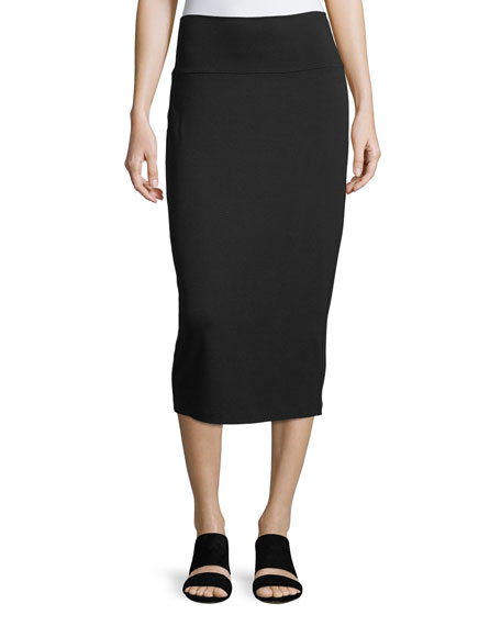 Eileen Fisher Fold-Over Knee-Length Pencil Skirt, Petite