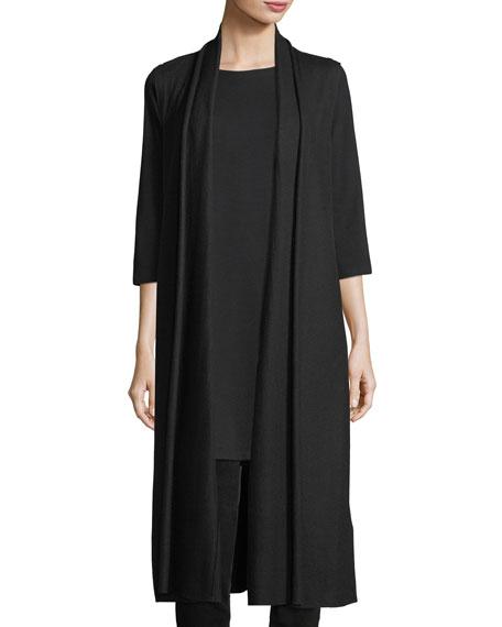 Long Boiled Wool Jersey Vest, Plus Size
