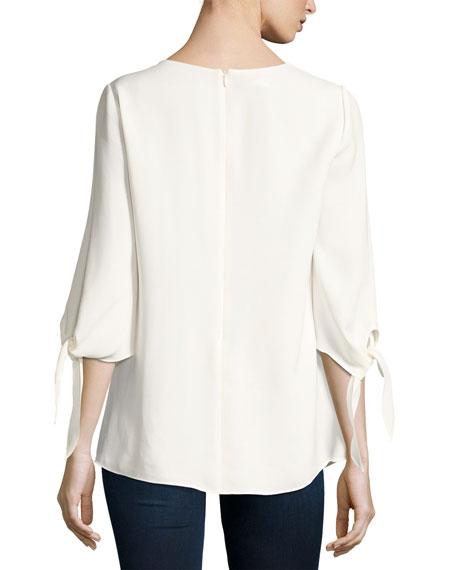 Kenna Tie-Sleeve V-Neck Silk Blouse, Plus Size