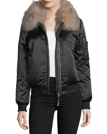 Mackage Long-Sleeve Zip-Front Bomber Jacket w/ Fur Collar