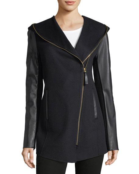 Mackage Fae Zip-Front Hooded Wool Leather Jacket