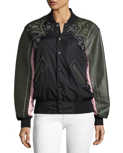 Studded Western Mixed-Media Varsity Jacket