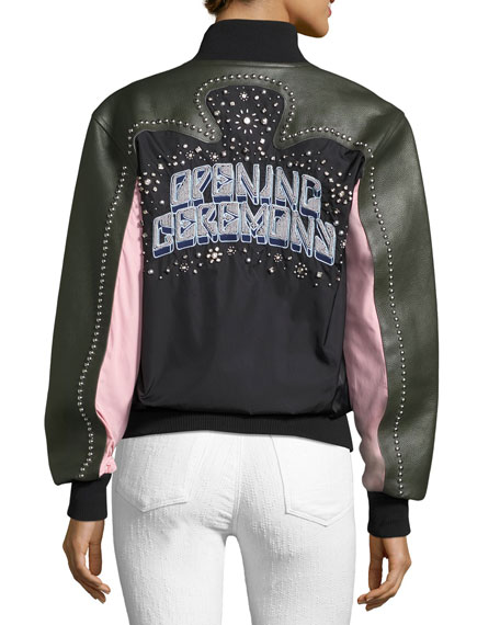 Studded Western Mixed-Media Varsity Leather Jacket