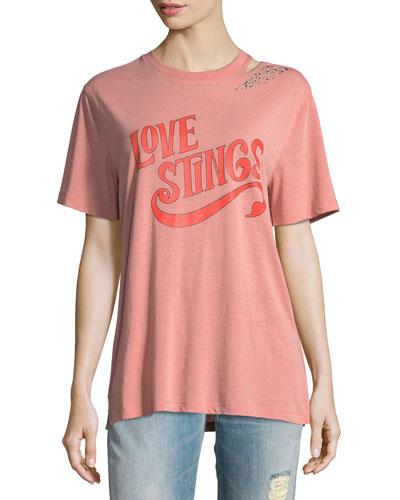 Love Stings Slashed Crewneck Tee