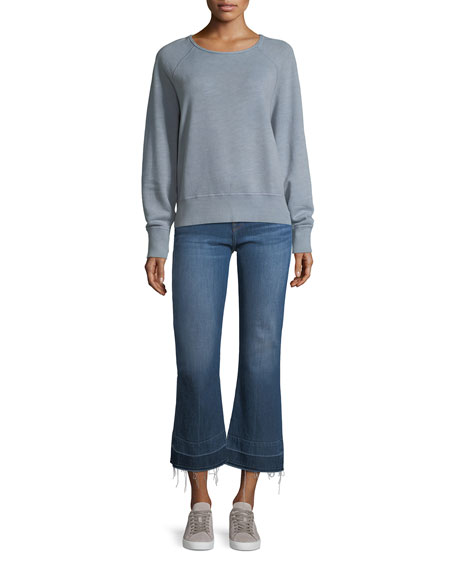 Cropped Flared Jeans w/ Released Hem