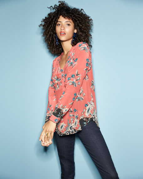 Genevia Long-Sleeve Floral-Print Silk Blouse, Plus Size