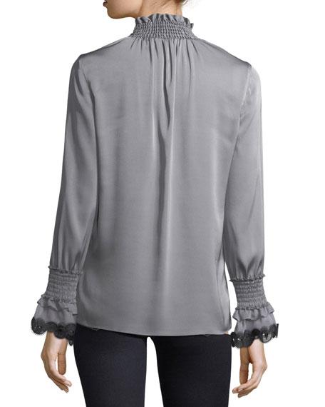 Sasha Long-Sleeve Mock-Neck Silk Blouse