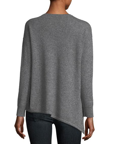 Metallic Cashmere-Blend Asymmetric Crewneck Sweater