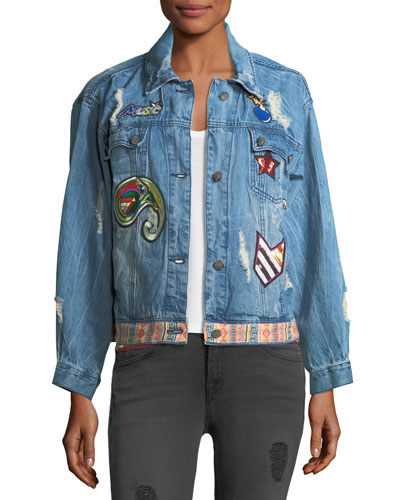 Julia Distressed Embroidered Denim Jacket w/ Patches