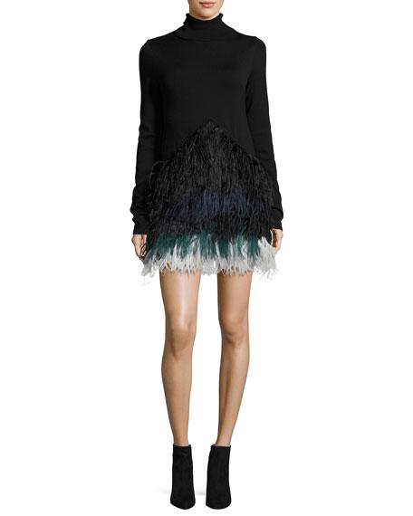 No. 21 Adelfina Long-Sleeve Feathered Knit Dress