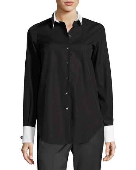Cordova Button-Front Embellished Shirt
