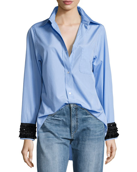 Hortensia Embellished-Cuffs Button-Front Shirt
