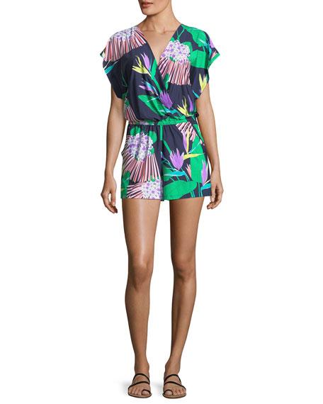 Trina Turk Midnight Paradise Kimono Sleeveless Romper