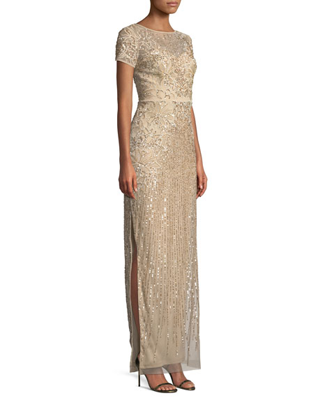 Short-Sleeve Sequin-Striped Evening Gown