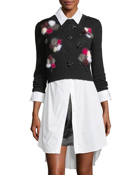 Milly Wool Pullover w/ Fur Pompom Flowers