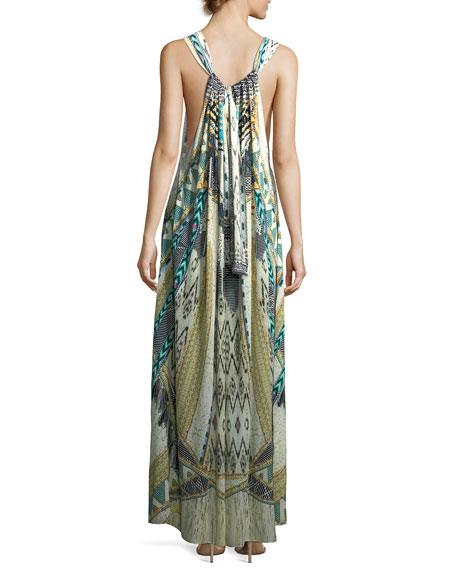 Sleeveless Printed Silk Maxi Dress