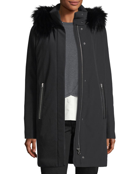 Derek Lam 10 Crosby Hooded Zip-Front Stretch-Down Coat