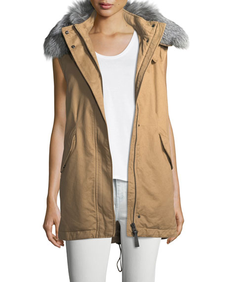 Derek Lam 10 Crosby Cotton Zip-Front Utility Vest