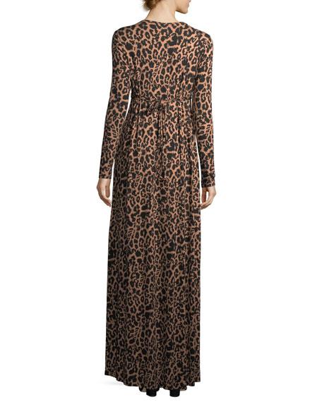 Leopard-Print Long Caftan Maxi Dress