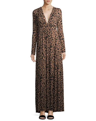 Leopard-Print Long Caftan Maxi Dress
