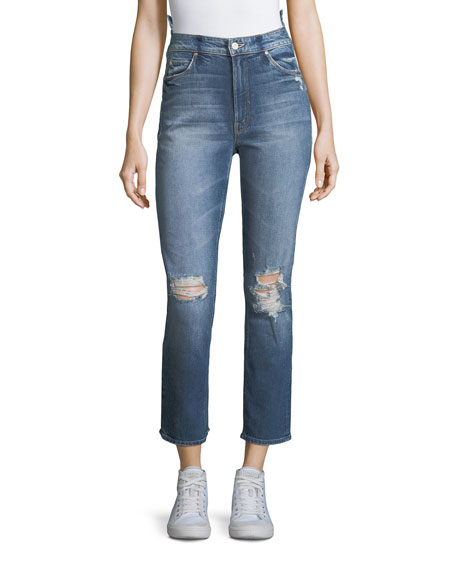 Mother Dazzler Destroyed High-Waist Skinny-Leg Jeans