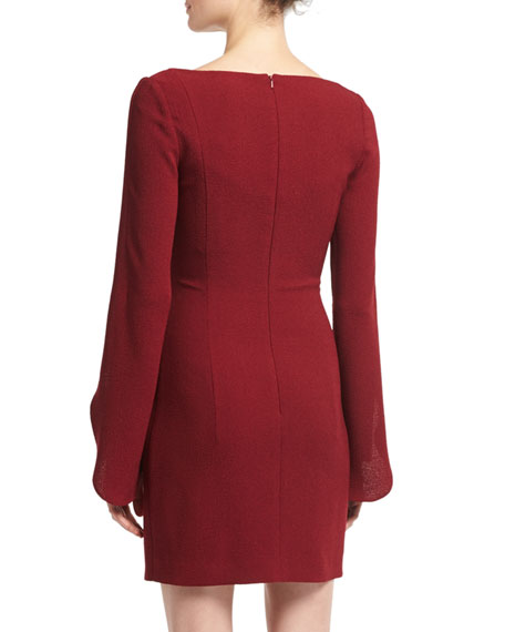 Raven Scoop-Neck Long-Sleeve Cocktail Dress