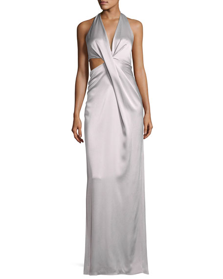 Sleeveless Deep V Halter Draped Satin Gown