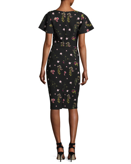 Floral-Print Short-Sleeve Cocktail Dress