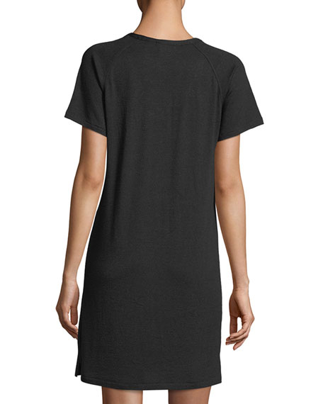Scoop-Neck Raglan Jersey Mini Dress