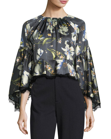cinq a sept Avalon Long-Sleeve Floral-Print Satin Blouse