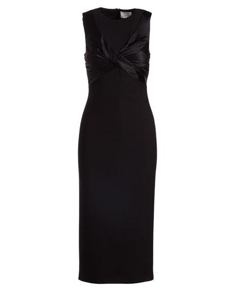 Adelise Crossover Sleeveless Sheath Midi Cocktail Dress