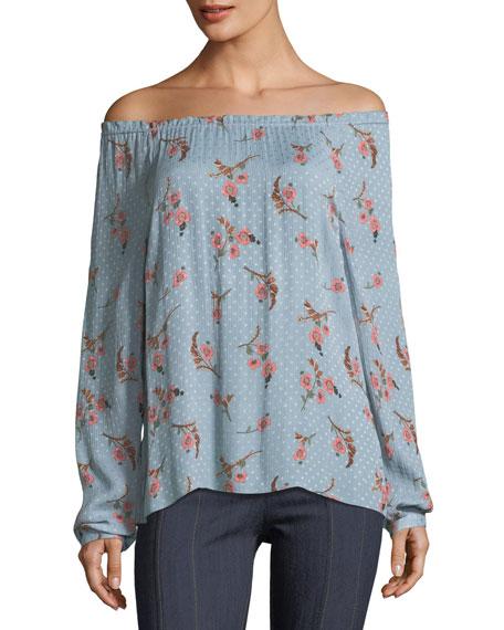 Rebecca Taylor Natalie Off-the-Shoulder Long-Sleeve Floral-Print Top