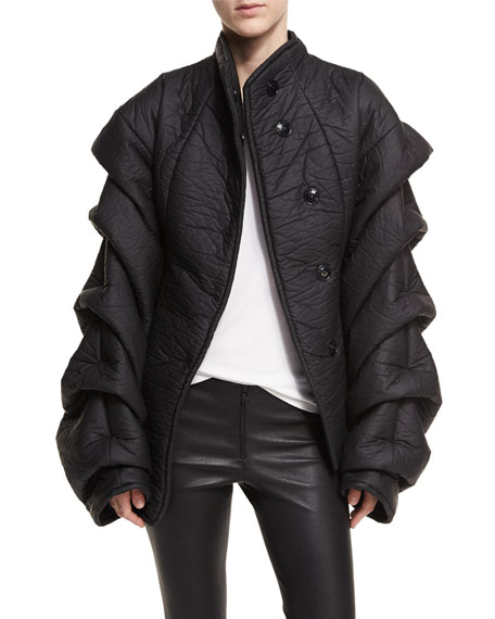 A.W.A.K.E. Octopus Tendrils Textured Tiered-Sleeve Jacket