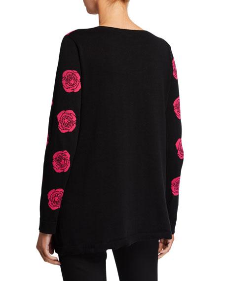 Falling Rose Intarsia Cotton Sweater, Plus Size