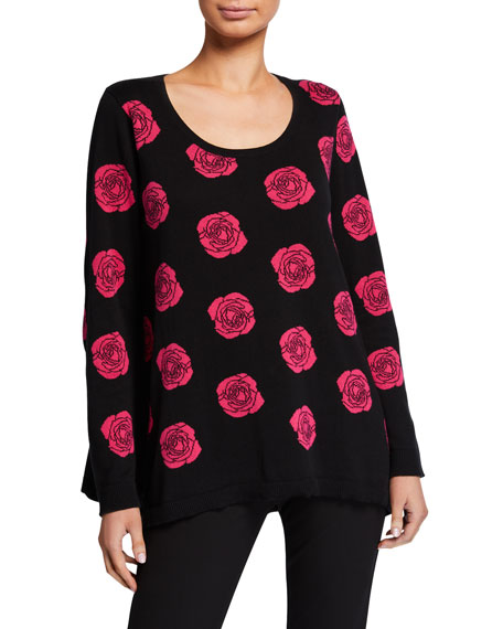 Joan Vass Falling Rose Intarsia Cotton Sweater, Plus