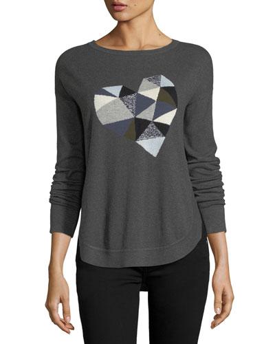 Prism Heart Cotton-Blend Sweater, Plus Size