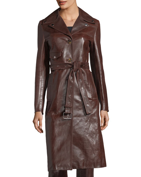 Helmut Lang Leather Button-Front Belted Biker Coat and