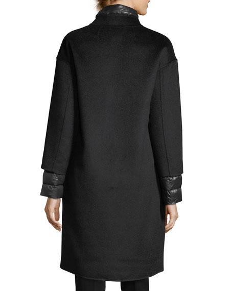 Nehru-Collar Wool Coat w/ Detachable Lightweight Puffer Jacket