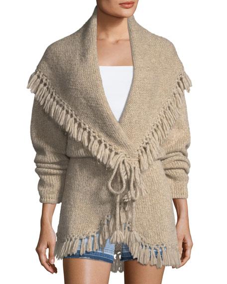 Loveshackfancy Tassel Cable-Knit Shawl Sweater