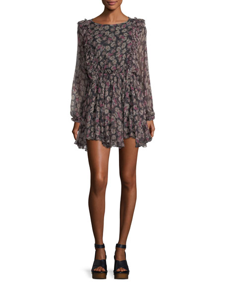 Noelle Ruffled Printed Chiffon Dress